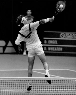 David Engel in action during a match in the Stockholm Open.