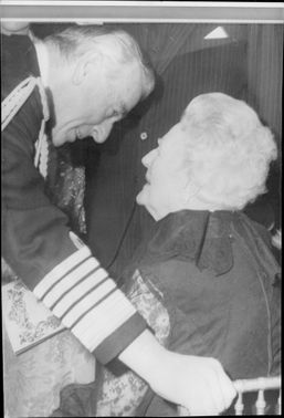 Earl Mountbatten in conversation with Winston Churchill's widow Baroness Churchill during Madame Tussaud's 200th anniversary