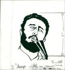 Drawing photo of Fidel Castro.