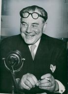 Hans Hedtoft at a press conference