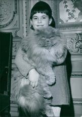 A cute little girl posing with a katter angora, holding in her hands and smiling.