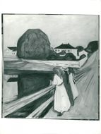 """Black White Picture of Edvard Munch Oil Painting """"The Girls On The Pier"""""""