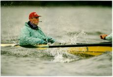 Cambridge's cox Martin N Haycock in training on the Thames