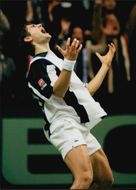 Arnaud Boetsch after the win against Nicklas Kulti in the Davis Cup 1996