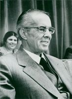 Enver Hoxha at a meeting with the parliament of Albania
