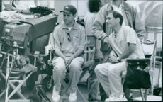 Director/producer Brian Robbins (left) and Producer Michael Tollin on the set of Good Burger.