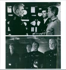 """Different scenes from the film """"Jakten på Röd Oktober"""" (Hunt for Red October), with Sean Connery as Captain 1st degree Marko Ramius (Red October) and Sam Neill as Captain 2nd degree Vasily Borodin (Red October), 1990."""
