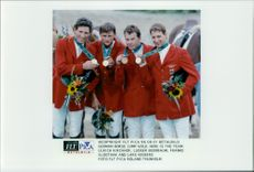 Ulrich Kirchhof, Ludger Beerbaum, Franke Sloothak and Lars Nieberg took team gold in jumping.