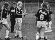 AIK girls celebrate the win by the football player Titti Jonsson opening the victory campaign.