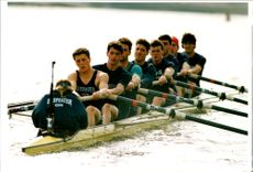 The Oxford crew during training before Boat Race 1992