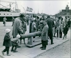 People gathered at the historical place, children looking cannon.