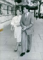 Viscount Linley and Lady Sarah Armstrong-Jones photographed taking a stroll. 1983.