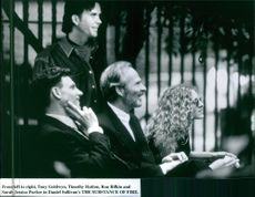 """Tony Goldwyn, Timonthy Hutton, Ron Rifkin and Jessica Parker in a scene from the movie """"The Substance Of Fire"""", 1996."""