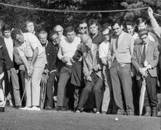 Ray Floydd plays from the audience at the Piccadilly World Match-Play Championship in Wentworth