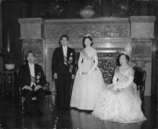 Newly wed Crown Prince Akihito and his wife pose with Emperor and Empress of Japan.