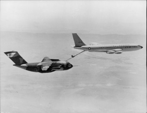 Trial flight with refueling planes in the air.