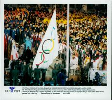 The Olympic flag is lifted during the closing ceremony of the Winter Olympics in 1998