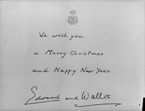 Christmas card from Edward VIII and Wallis, the Duke and Duchess of Windsor.