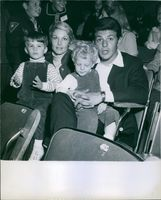 Frankie Avalon with his wife Kay and their two sons Frankie Jr. and Tony. 1967.