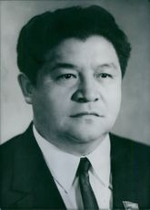 Portrait of Mr. Akhmatbek Suyumbayev. Soviet Politician. Chairman of the council of Ministers of the Kirghiz Soviet Socialist Republic.