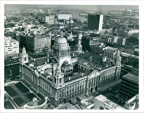 A general view of belfast city hall in foreground.