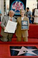 Johnny Grant with actress Meryl Streep at a ceremony where she is awarded a star on Hollywood's Walk of Fame