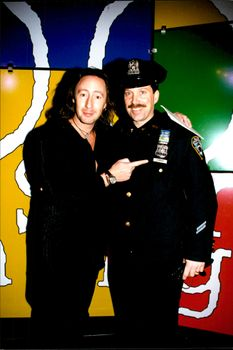 "Julian Lennon, along with a New York police named Don Lennon at the ""Do Something BRICK"" charity gala in New York"
