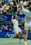 Stefan Edberg and Peter Korda during the double match in the Australian Open 1996