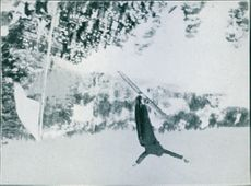 Viktor Balck skiing while jumping in snow. NOT PHOTO - CUT OUT