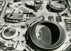 A helicopter image across the arenas facing the OS