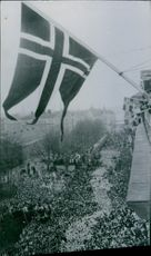 King Gustav and his people gathered on the street, Sweden, 1950.
