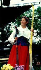 Crown Princess Victoria proudly shows up her new skis she received in a 21st birthday present during the celebration at Solliden.