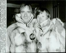 Austrian gold medalists Anton Innauer and Annemarie Moser-Proell with their medals after the award ceremony during the 1980 Winter Olympics