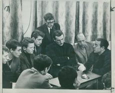 Ian St John with his coach and team mates