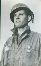 A potrait Sergeant Esterl Abel, wearing the Silver Star which he was awarded.