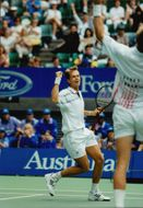 Stefan Edberg and Petr Korda during the Australian Open.