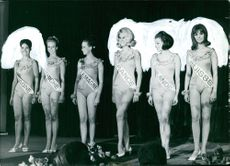 Miss Europe 1966 candidates on stage smiling. Photo taken on June 1, 1966.