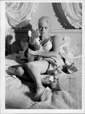 Portrait image of Diana Dors taken during the West Eleven recordings.