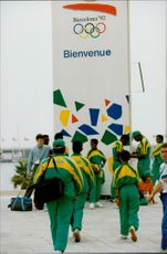 OS Barcelona. South Africa arrives at the Olympic Village