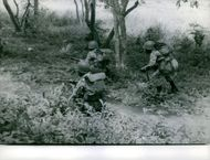 Soldiers heading slowly in forest.