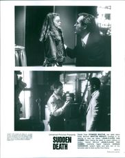 "Top:Powers Boothe(right) and Whittni Wright(left)  Below:Jean-Claude Van Damme(left) and Dorian Harewood(right) in two scenes of the movie ""Sudden Death""."