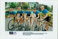 "Pre-bike: Glenn Magnusson, Jan Karlsson, Michael Laftis, Michael ""Roddarn"" Andersson and Markus Andersson"