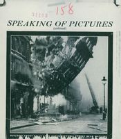 Picture show a collapsing building in England from German bombing operation, 1940