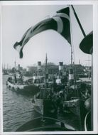 DAF is flying to Sweden. In Landskrona harbor with the Danish flag in the top. 1945