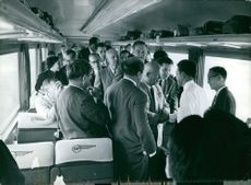 Nikita Sergeyevich Khrushchev meeting with people in train in California.