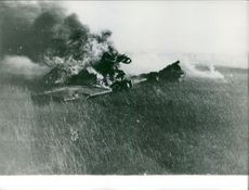 A crashed aeroplane on farmland.