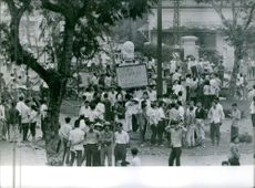 People gathered in street during a rally.