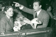 "Simone Signoret and Yves Montand in ""Six jours"""