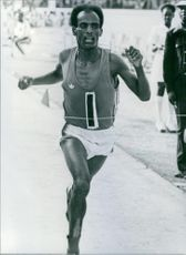 Ethiopian athlete, Mirus Yifter on the finish line, 1979.