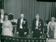 Prince Bertil, Queen Louise Mountbatten, King Håkon VII of Norway, King Gustaf VI Adolf and Princess Ingeborg Listening to the Norwegian National Anthem at the Drama Festival